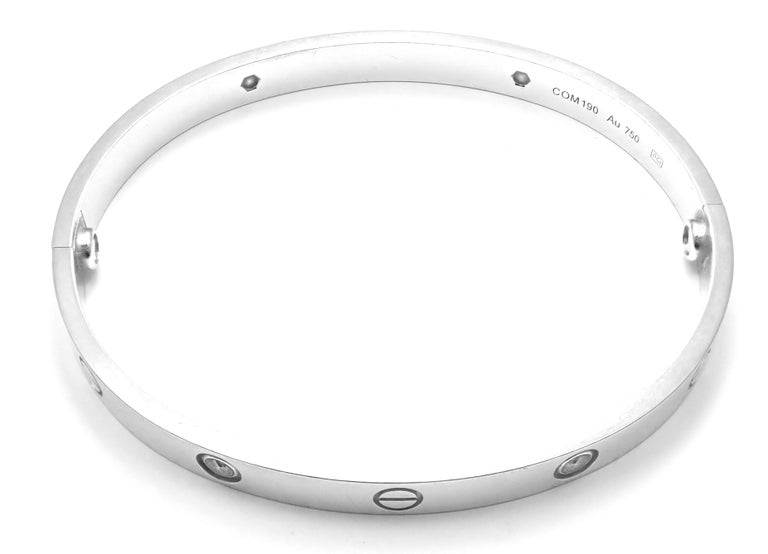 Cartier Four-Diamond White Gold New Screw System Love Bangle Bracelet For Sale 2