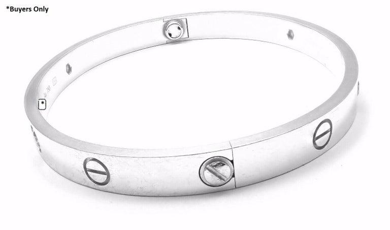 Round Cut Cartier Four-Diamond White Gold New Screw System Love Bangle Bracelet