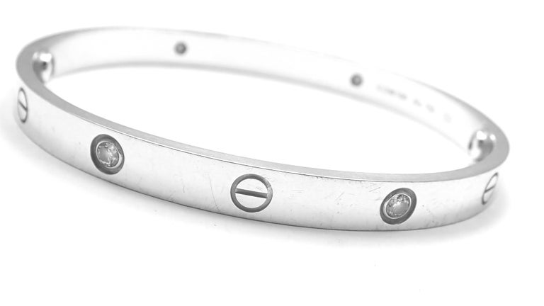 Cartier Four-Diamond White Gold New Screw System Love Bangle Bracelet For Sale 3