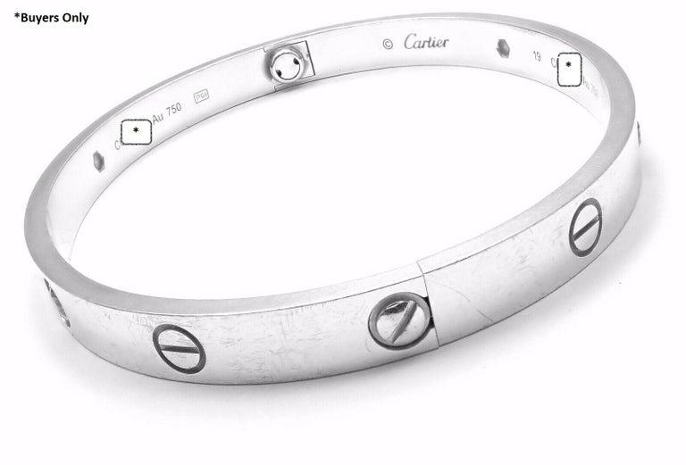Cartier Four-Diamond White Gold New Screw System Love Bangle Bracelet 3