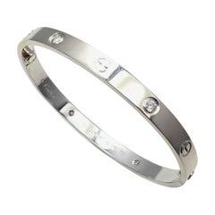 Cartier Four-Diamond White Gold New Screw System Love Bangle Bracelet