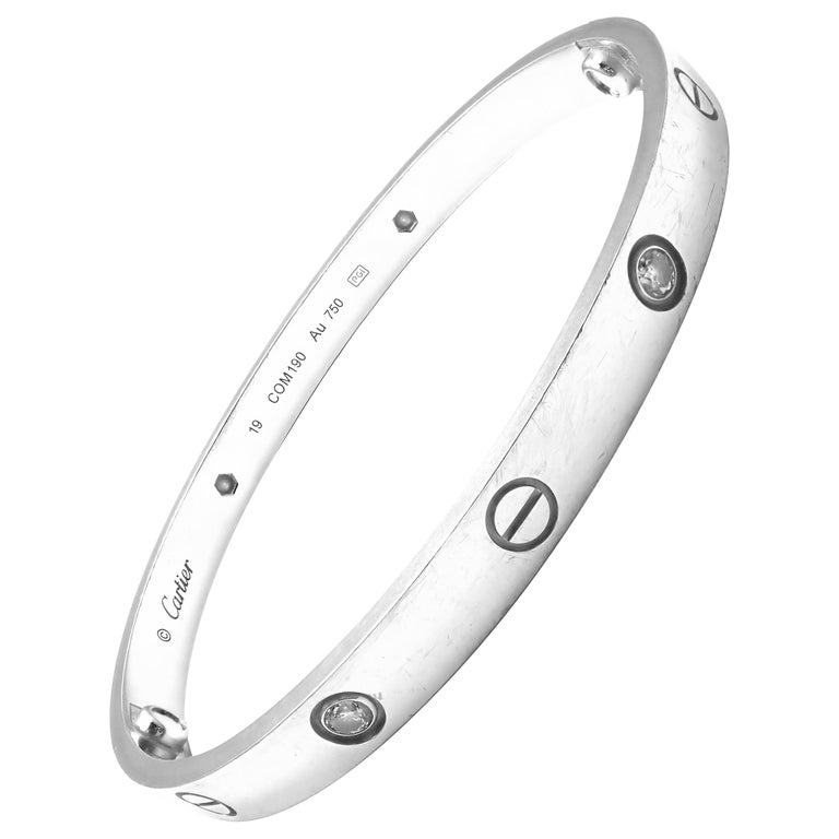 Cartier Four-Diamond White Gold New Screw System Love Bangle Bracelet For Sale