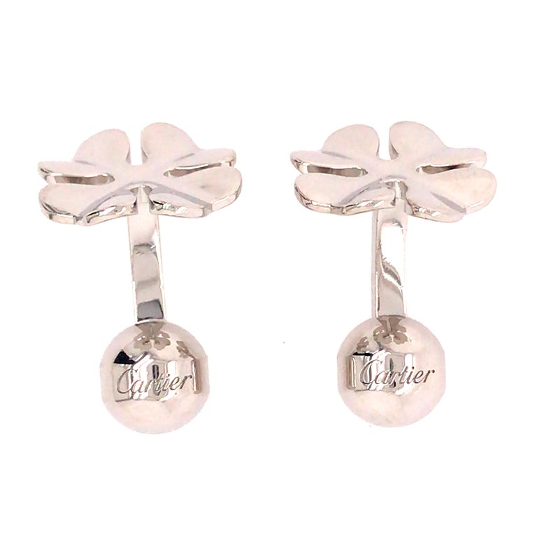 Cartier Four Leaf Clover Cuff Links in Sterling Silver 1
