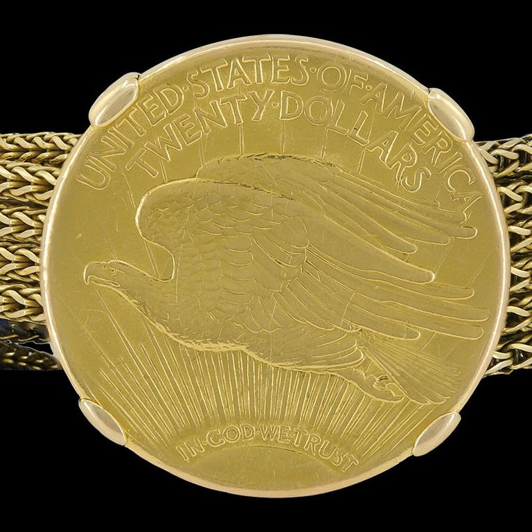Cartier Four Twenty Dollars Gold Coins Bracelet In Good Condition For Sale In New York, NY
