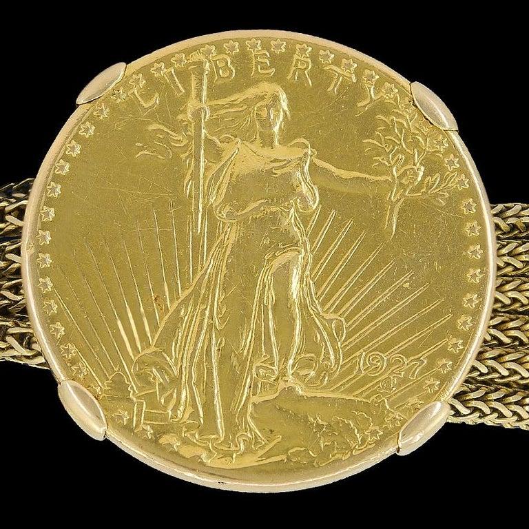 Women's or Men's Cartier Four Twenty Dollars Gold Coins Bracelet For Sale