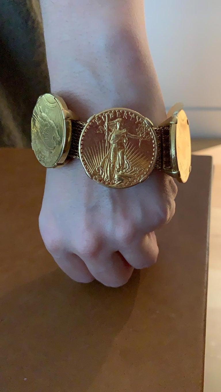 Cartier Four Twenty Dollars Gold Coins Bracelet For Sale 1