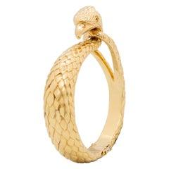 Cartier France 18 Karat Yellow Gold Engraved Falcon Bangle