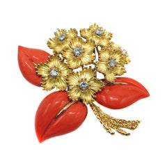 Cartier France 1960s Yellow Gold Mediterranean Coral and Diamond Flower Brooch