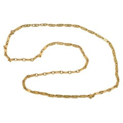 Cartier, France 1970s Gold Tablet Link Chain, Wearable at Two Lengths