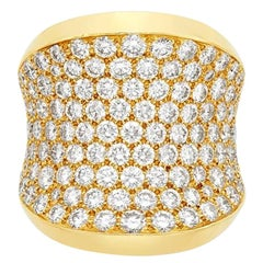 Cartier France Concave Diamond Gold Ring