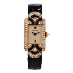 Cartier France Diamond Black Onyx 18K Gold  Wrist Watch