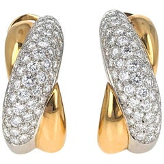 Cartier France Diamond Cross Over Platinum Gold Clip Earrings
