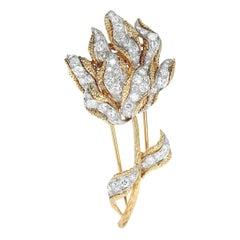 Cartier France Diamond Flower Brooch, 18 Karat Yellow Gold