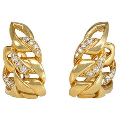 Cartier, France Estate Gold and Diamond Tapering Curb Link Hoop Earrings