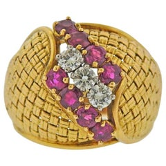 Cartier France Gold Diamond Ruby Ring