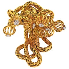 Cartier France Midcentury Diamond Gold Brooch Pin