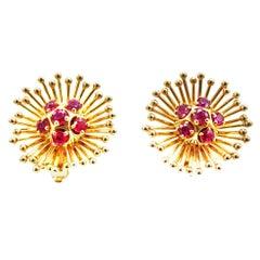 Cartier France Retro Ruby Gold Ear-Clips
