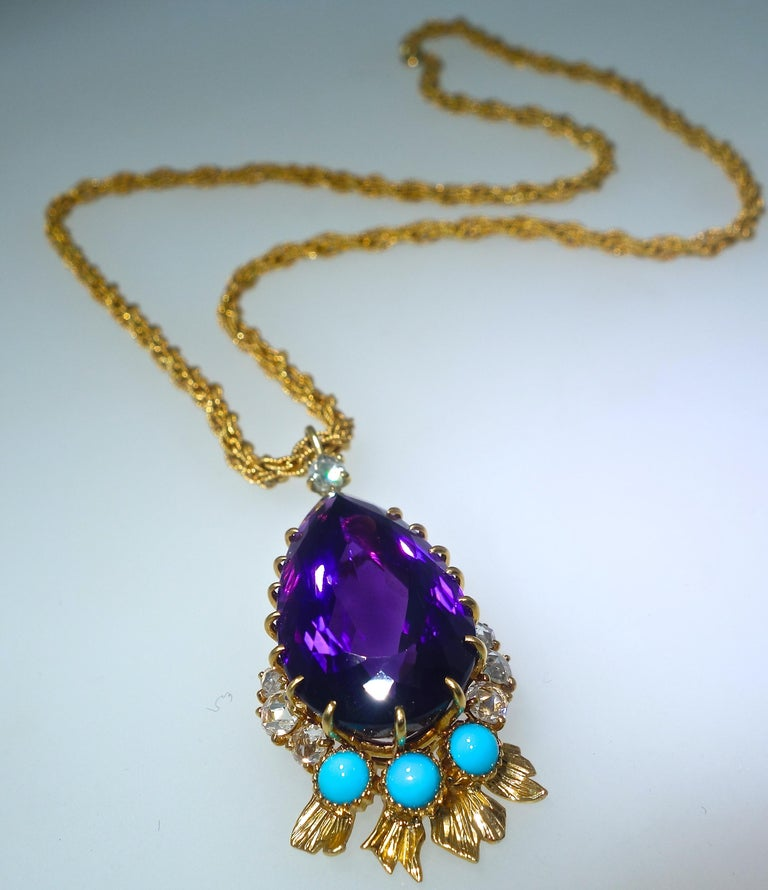 Retro Cartier France Siberian Amethyst Necklace, circa 1950 For Sale