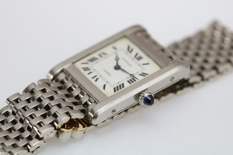 Cartier France Platinum Tank Normale Wristwatch circa 1940s For Sale 6