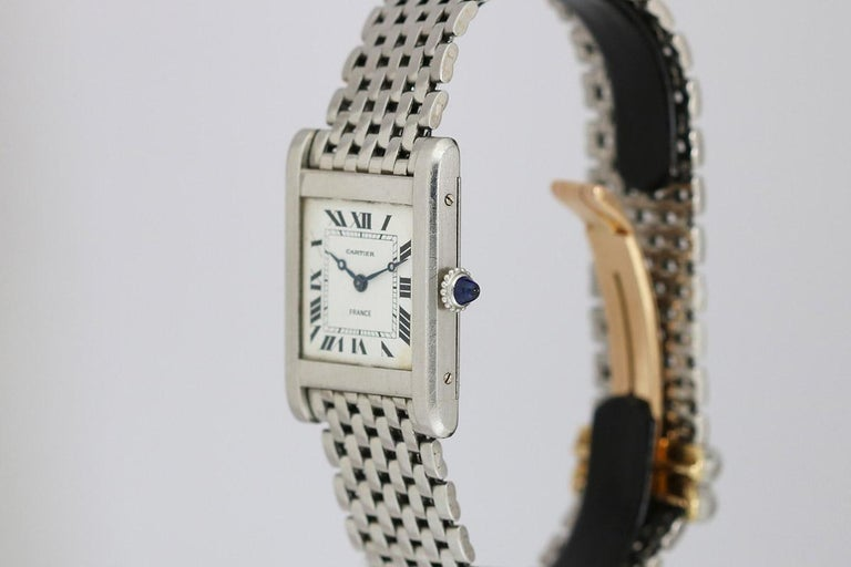Cartier France Platinum Tank Normale Wristwatch circa 1940s In Good Condition For Sale In Miami Beach, FL