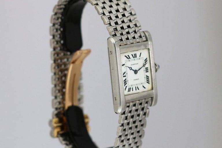 Women's or Men's Cartier France Platinum Tank Normale Wristwatch circa 1940s For Sale
