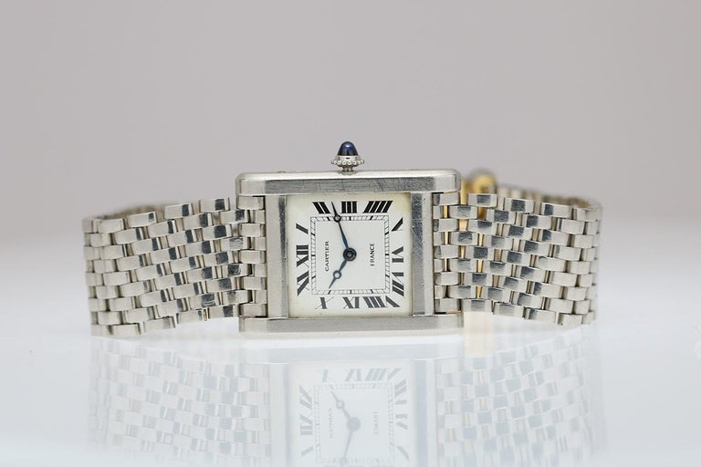 Cartier France Platinum Tank Normale Wristwatch circa 1940s For Sale 3