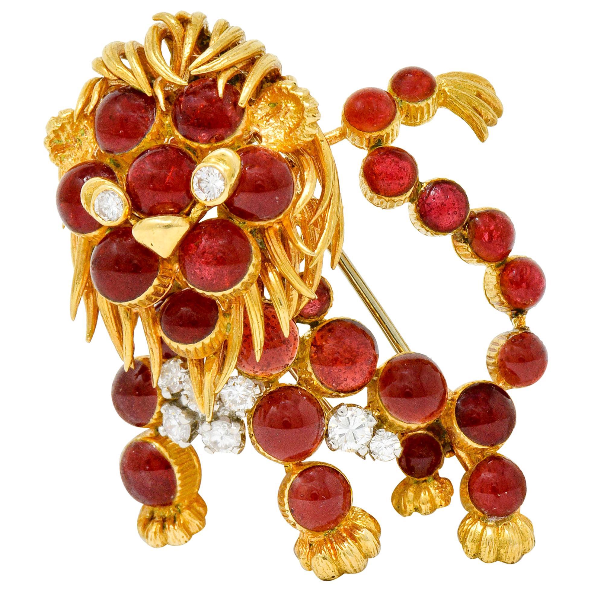 Cartier France Vintage Diamond 18 Karat Gold Whimsical Lion Brooch