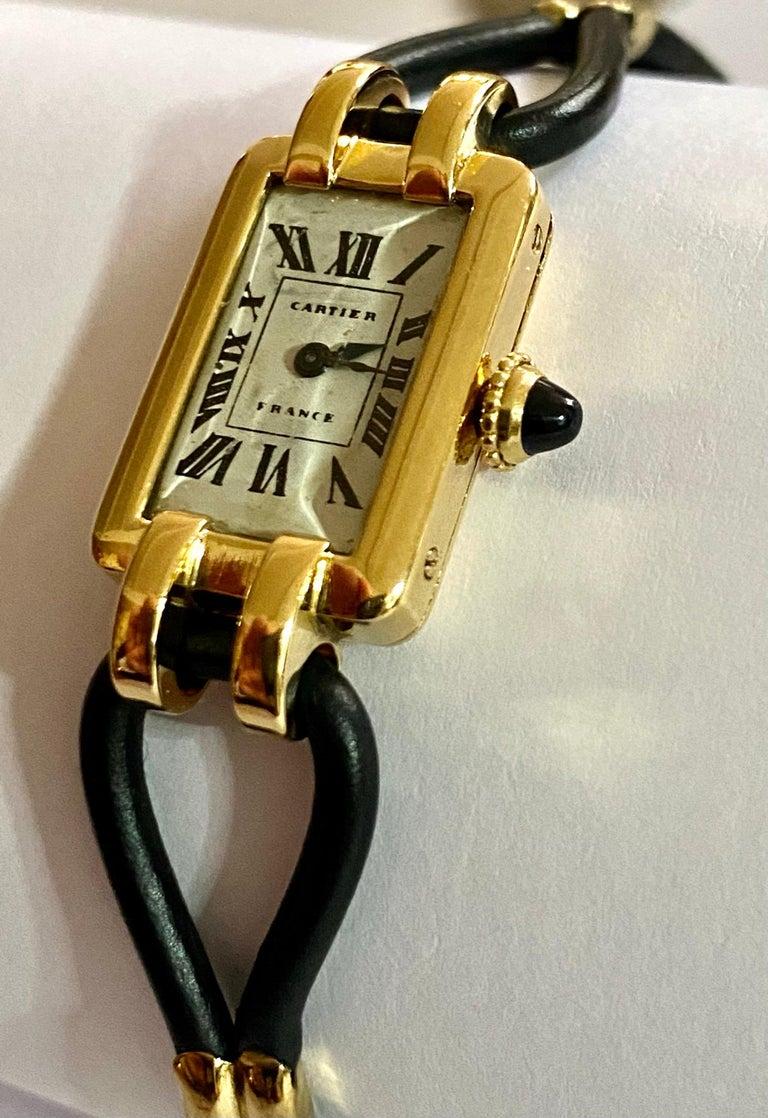 Cartier France, Yellow Gold Ladies Wristwatch, 1930s Art Deco Eur Watch & Co In Good Condition For Sale In Heerlen, NL