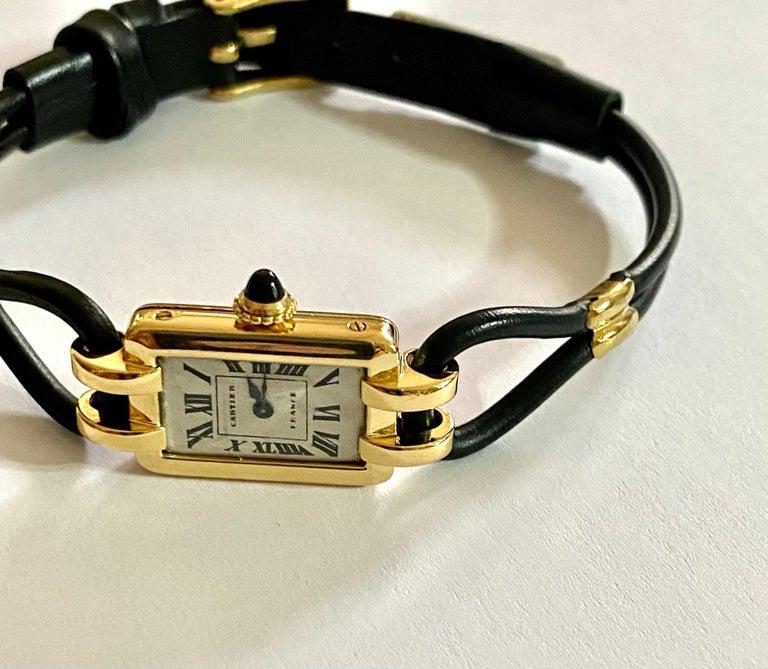 Women's Cartier France, Yellow Gold Ladies Wristwatch, 1930s Art Deco Eur Watch & Co For Sale