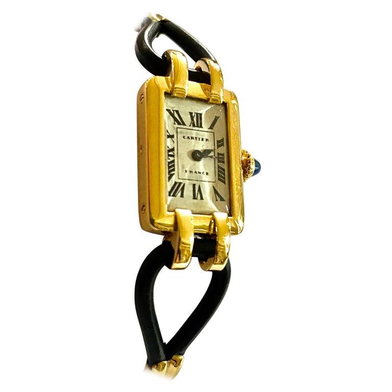 Cartier France, Yellow Gold Ladies Wristwatch, 1930s Art Deco Eur Watch & Co For Sale