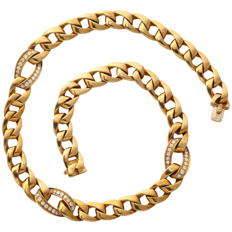 Cartier French 18 Karat Gold and Diamond Necklace For Sale