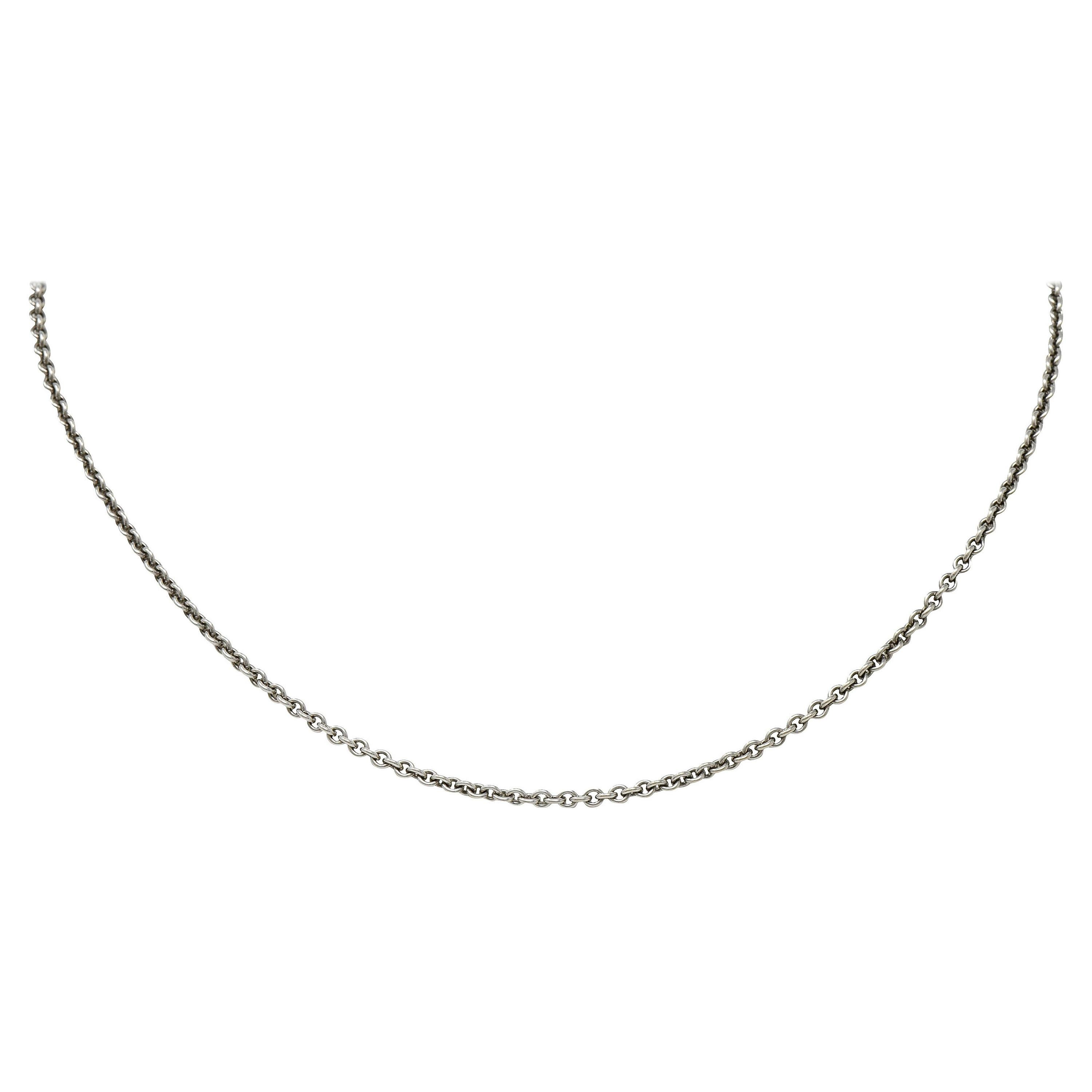 Cartier French 18 Karat White Gold Classic Cable Chain Necklace