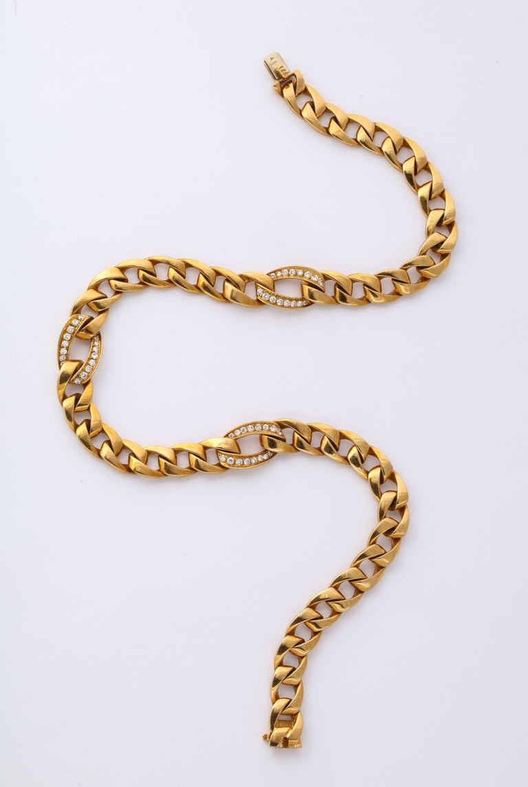 Modern Cartier French 18 Karat Gold and Diamond Necklace For Sale