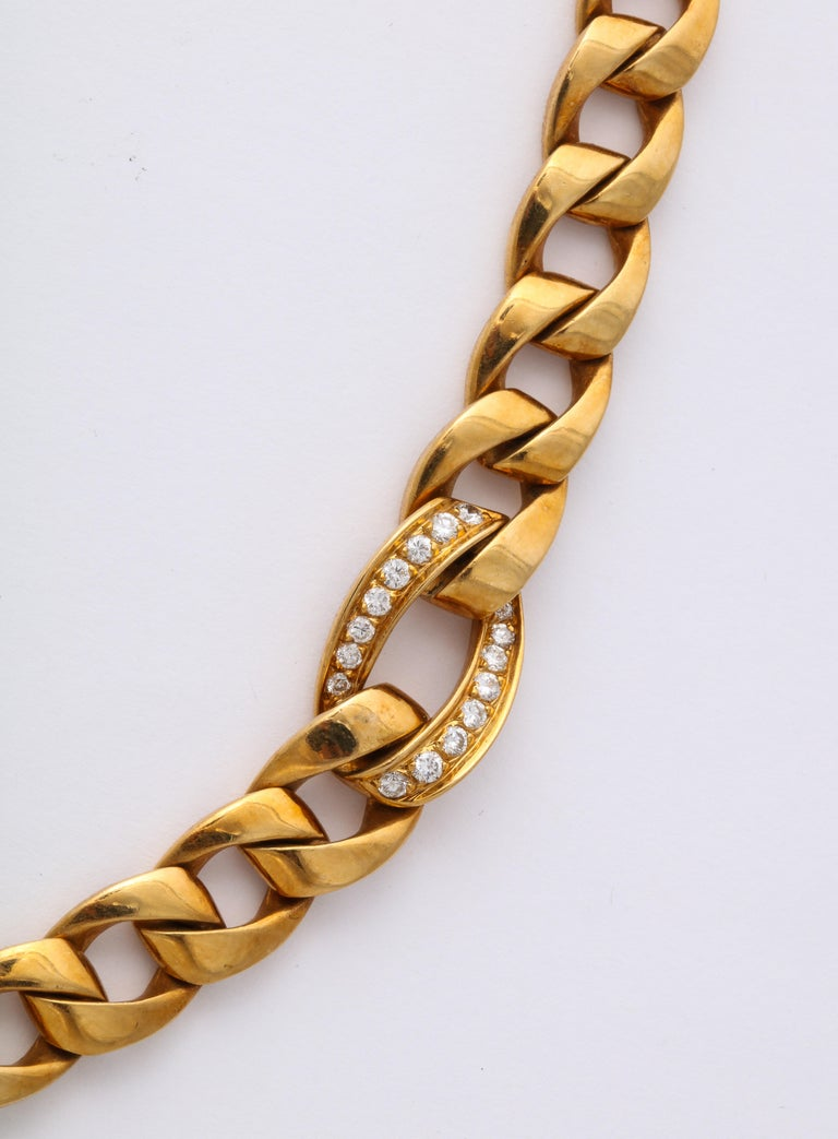 French Cut Cartier French 18 Karat Gold and Diamond Necklace For Sale