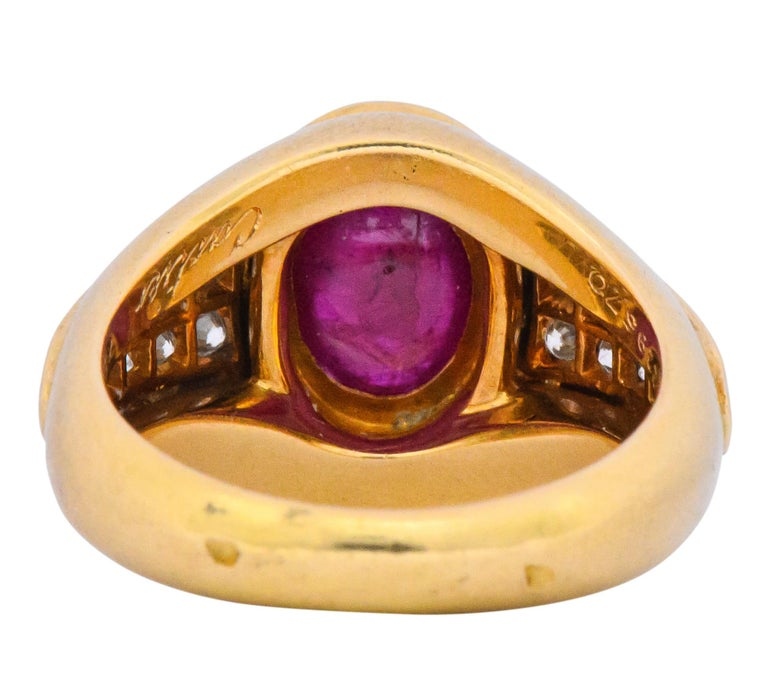 Cartier French 3.40 Carat Ruby Diamond 18 Karat Yellow Gold Ring In Excellent Condition For Sale In Philadelphia, PA