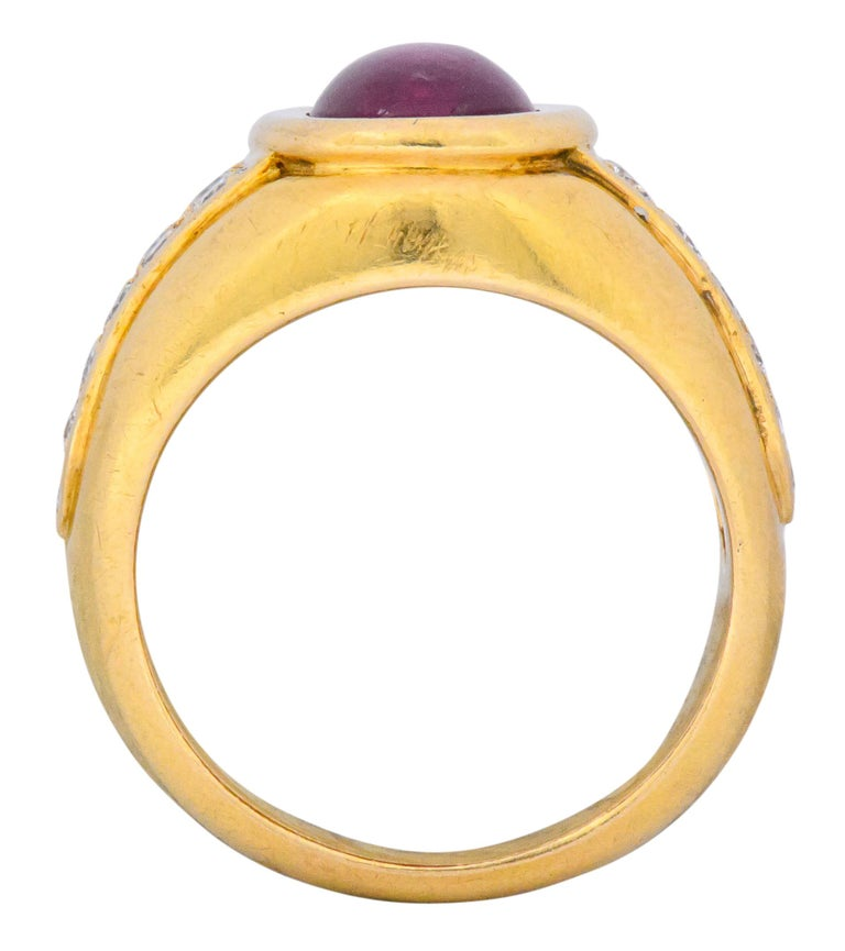 Cartier French 3.40 Carat Ruby Diamond 18 Karat Yellow Gold Ring For Sale 1