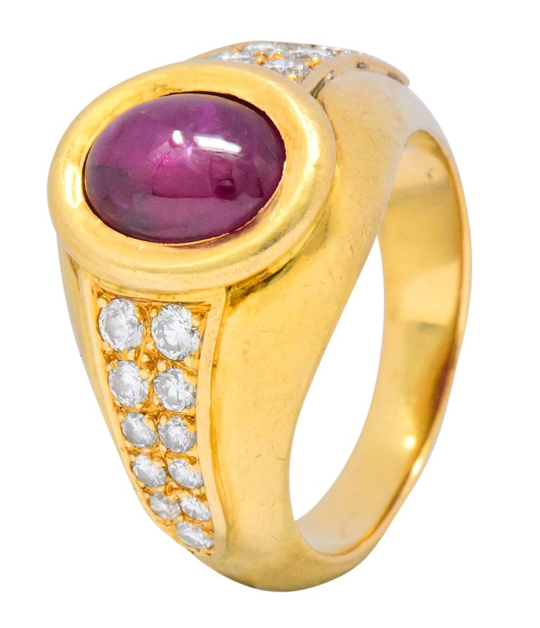 Cartier French 3.40 Carat Ruby Diamond 18 Karat Yellow Gold Ring For Sale 2