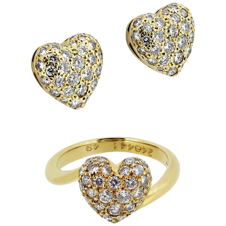 Cartier Diamond Love Heart Earrings and Ring in 18 Karat Gold For Sale