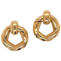 Cartier French Door Knocker Vintage Earrings 18 Karat Yellow Gold