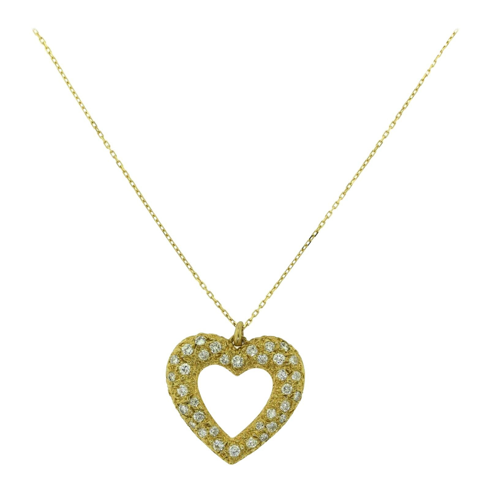 Cartier French Paris Large Heart Diamond Paved Pendant Necklace in Yellow Gold