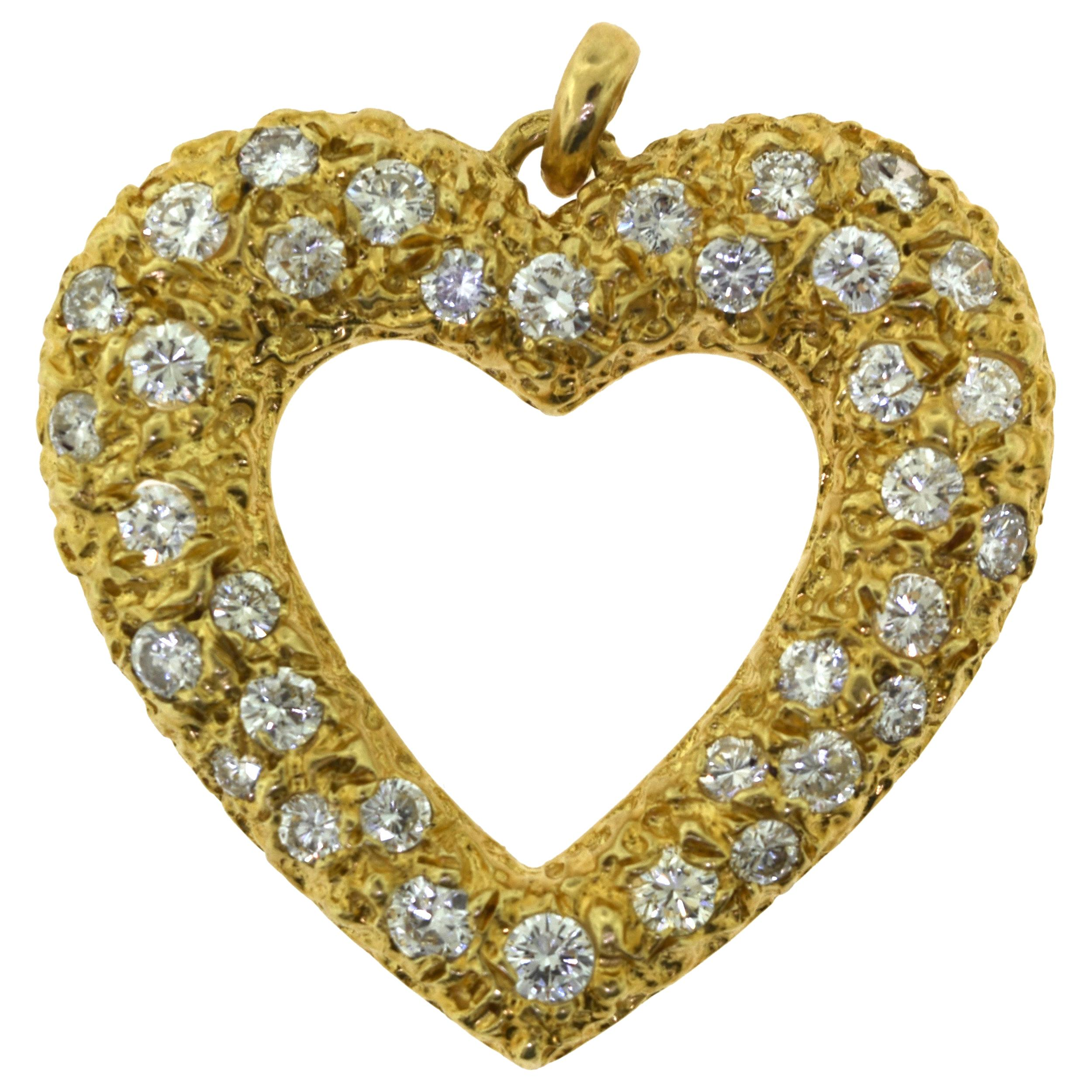 Cartier French Paris Lg. Heart Diamond Paved Pendant Necklace in Yellow Gold