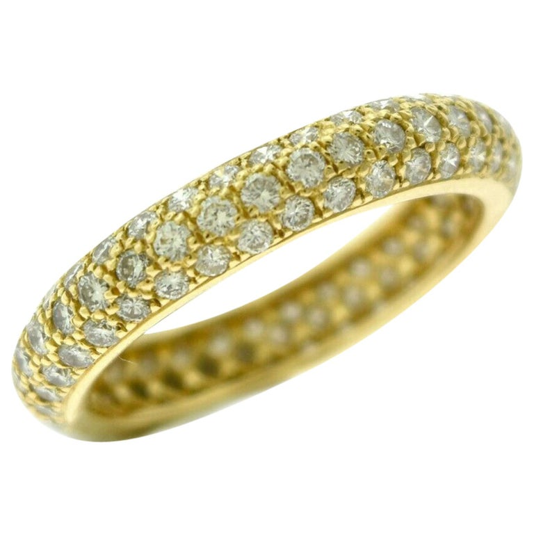 Cartier French Three-Row Diamond Eternity 18 Karat Yellow Gold Band Ring For Sale