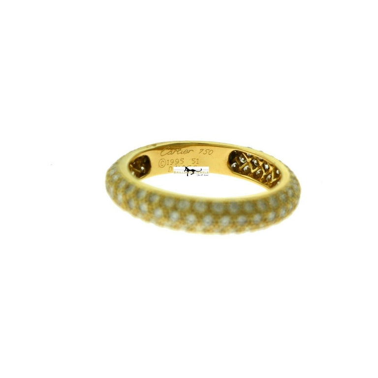 Round Cut Cartier French Three-Row Diamond Eternity 18 Karat Yellow Gold Band Ring For Sale