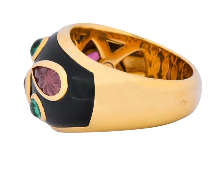 Women's or Men's Cartier French Tourmaline Emerald Lacquer 18 Karat Gold Ring, circa 1991 For Sale