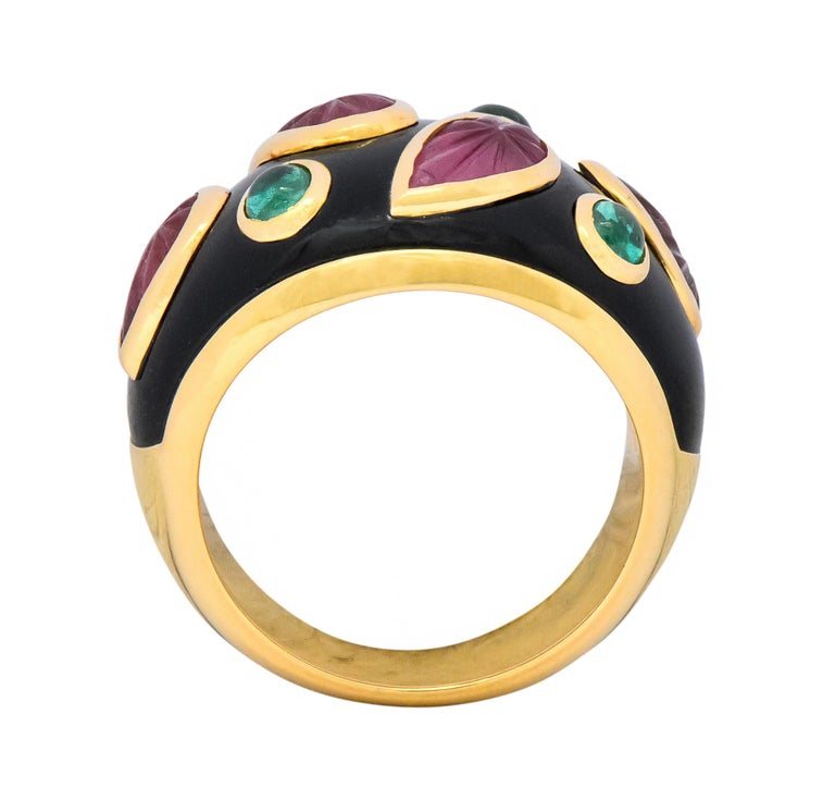 Cartier French Tourmaline Emerald Lacquer 18 Karat Gold Ring, circa 1991 For Sale 2