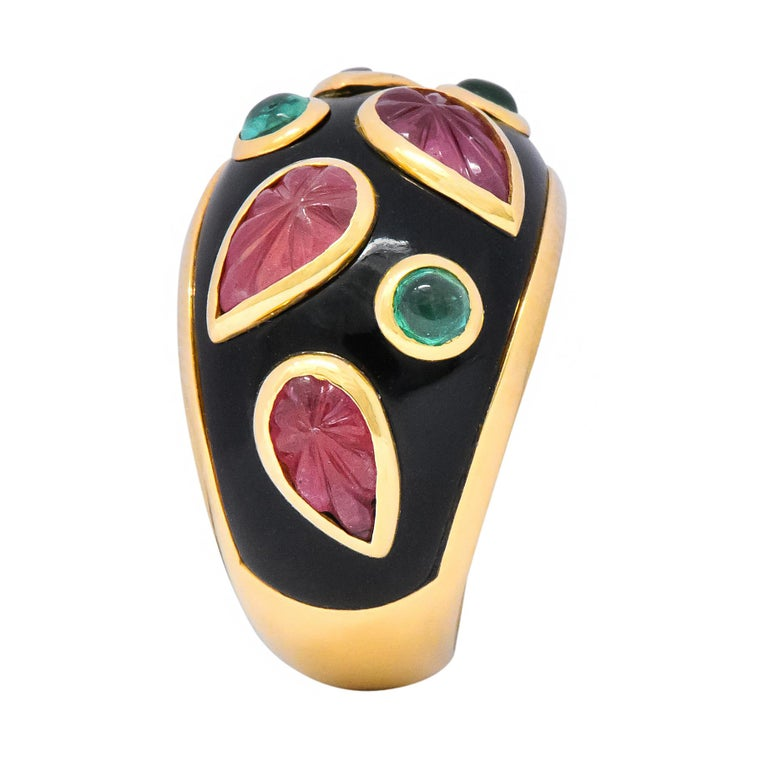 Cartier French Tourmaline Emerald Lacquer 18 Karat Gold Ring, circa 1991 For Sale 3