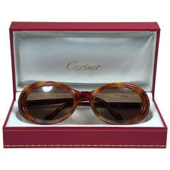 Cartier Frisson Tortoise 8k Gold Plated Accents 1990 Sunglasses France