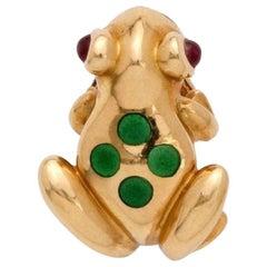 Cartier Frog Lapel Pin Ruby Enamel 18 Carat Yellow Gold