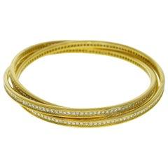 Cartier Full Diamond 18 Karat Yellow Gold Trinity Bracelet 3 Bands MM