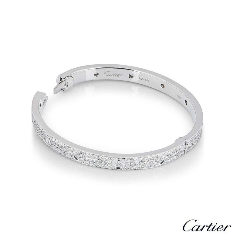 Cartier Full Pave Diamond Love Bracelet In Excellent Condition For Sale In London, GB
